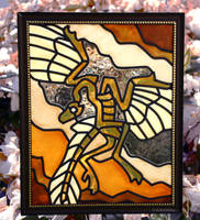 Archaeopteryx Faux Stained Glass (Outdoor) by KiRAWRa