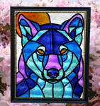 Wolf Moon Faux Stained Glass (Outdoor)