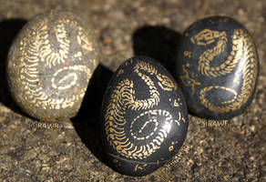 Painted Fossil Rock Magnets - Snakes by KiRAWRa