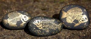 Painted Fossil Rock Magnets - Fish by KiRAWRa