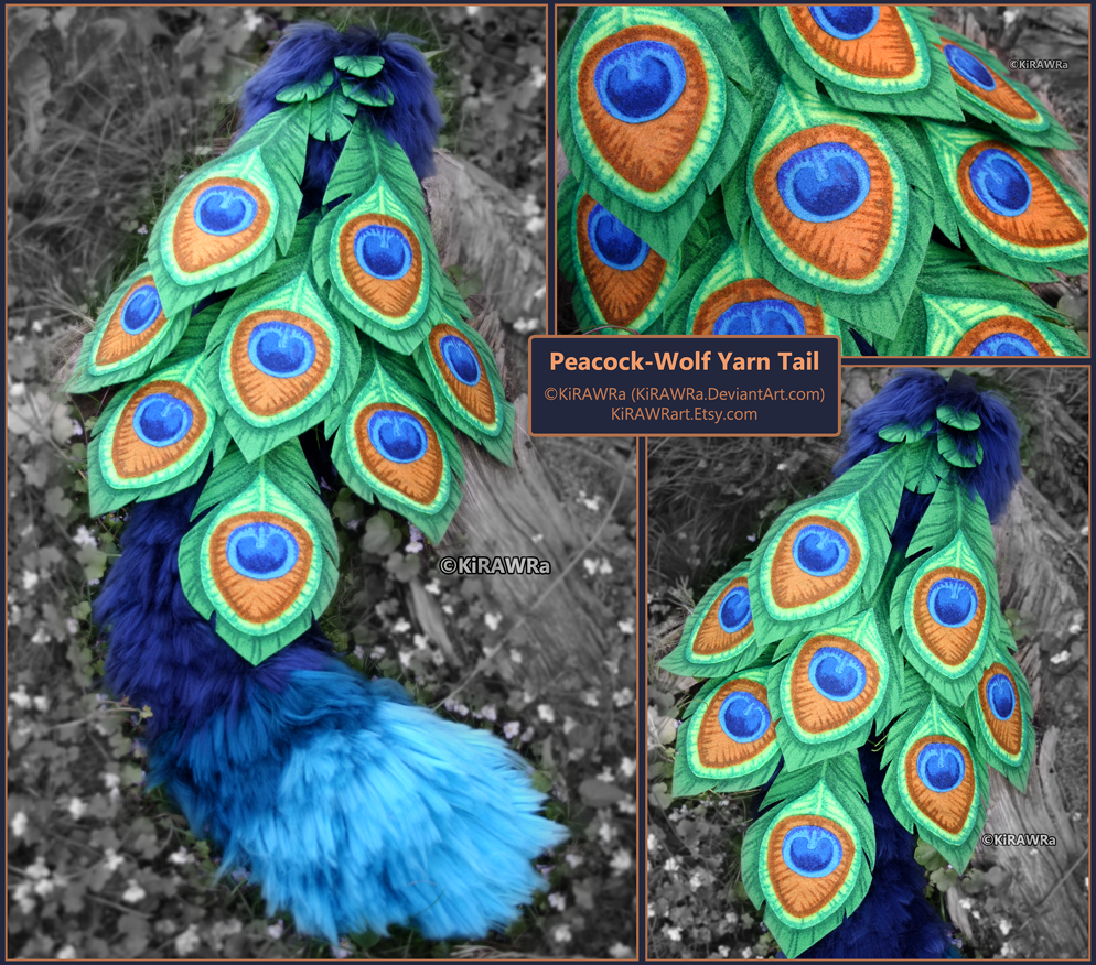 Peacock-Wolf Yarn Tail Set by KiRAWRa