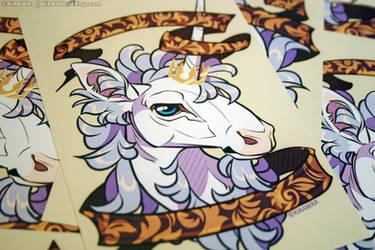 Glossy Art Print: Filigree Unicorn by KiRAWRa