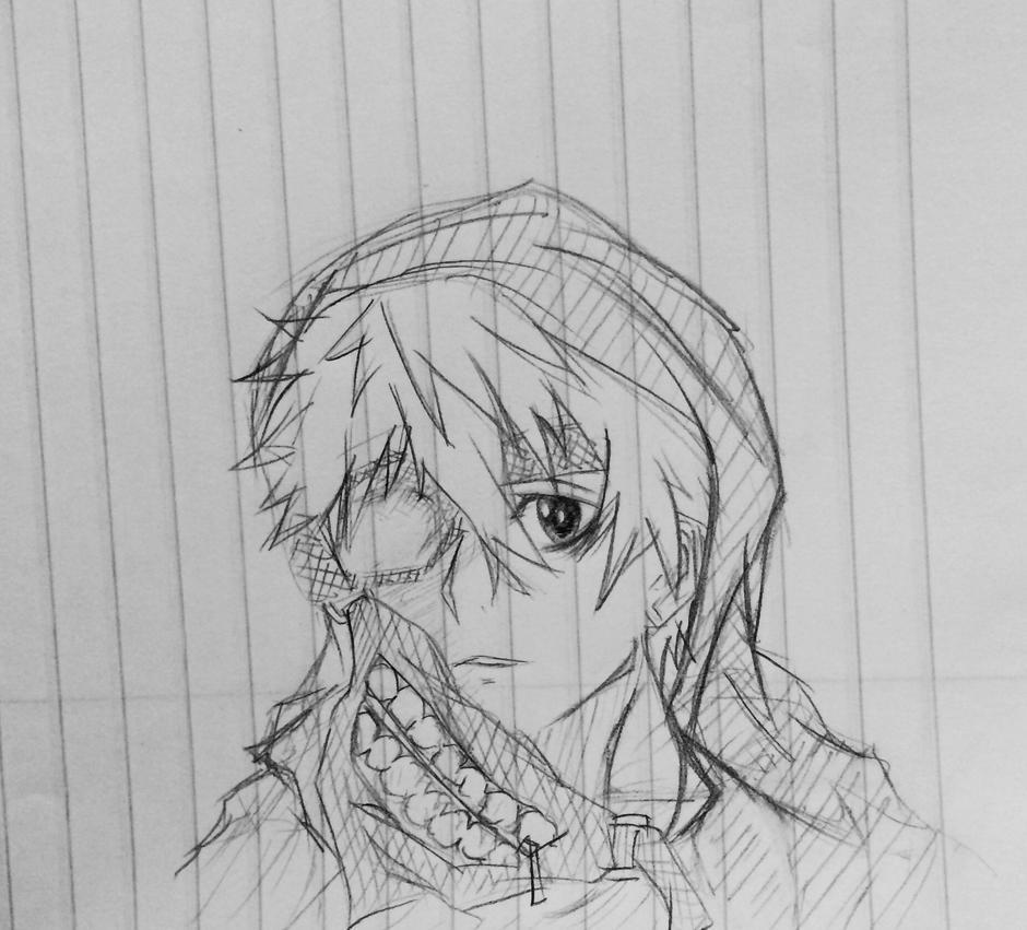 kaneki ken tokyo ghoul sketch by TinSeven