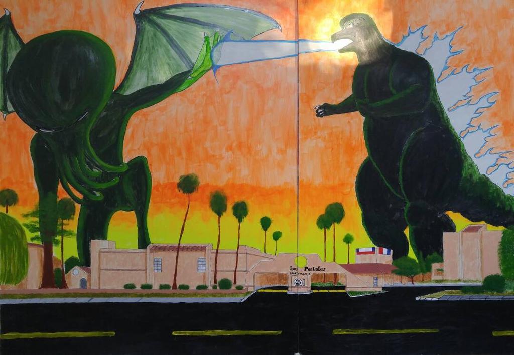 Godzilla vs Cathulu  by ProzacMan