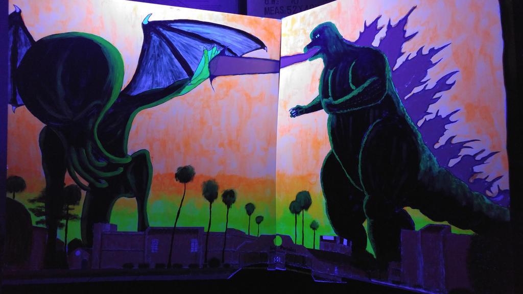 Godzilla vs Cathulu in Blacklight by ProzacMan