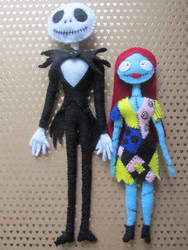 Jack and Sally Dolls by BlueHorizon89