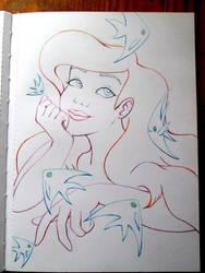 Ariel Lineart by BlueHorizon89