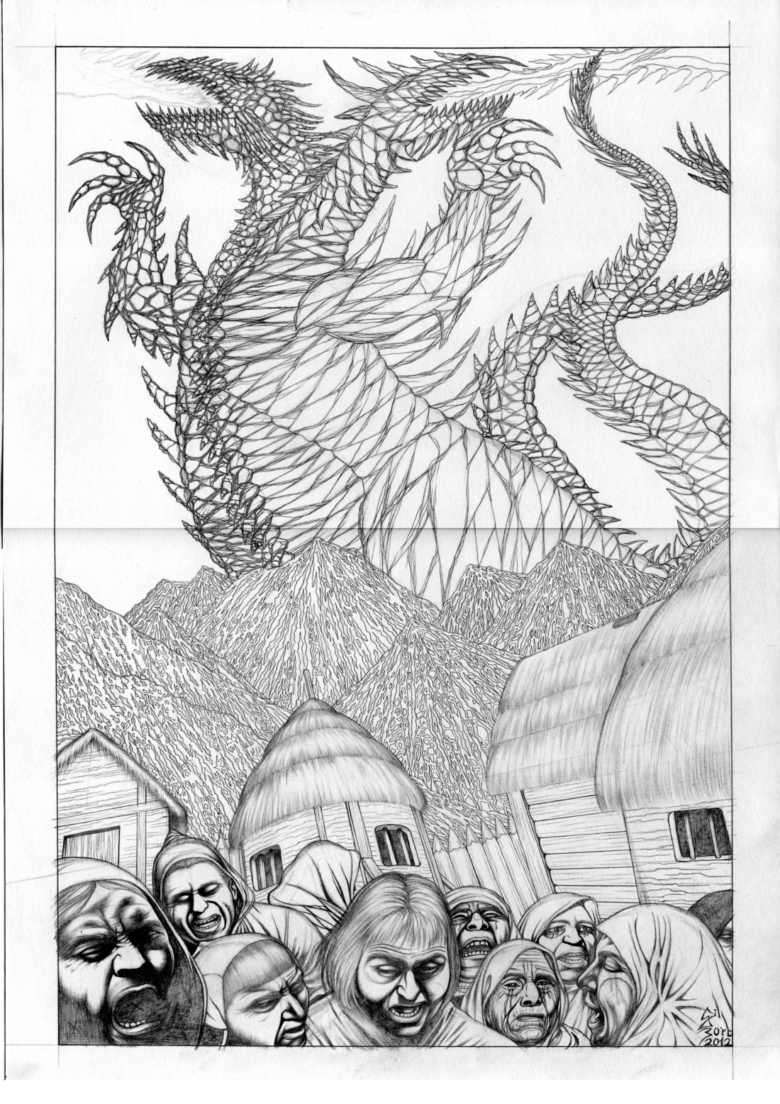 Fire Ice Dragon Pencil sketch concept for Terathan by ...
