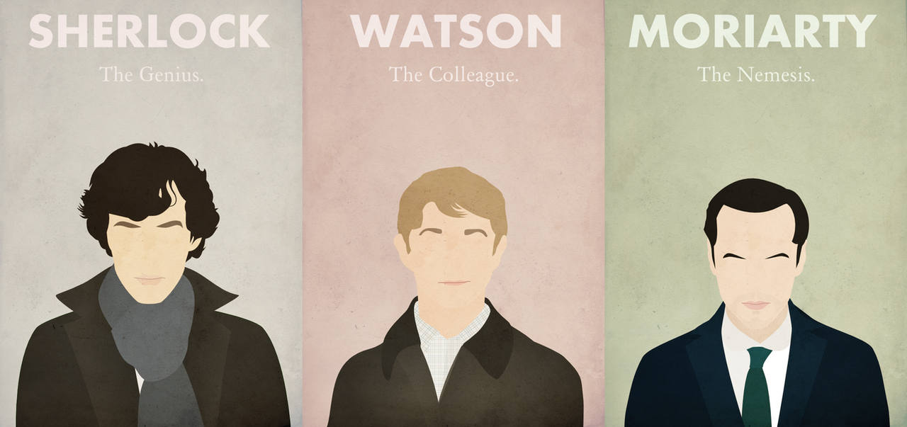 Sherlock * Watson * Moriarty by BantamArt