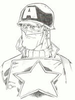 sketchy : WWII Cap bust by KidNotorious