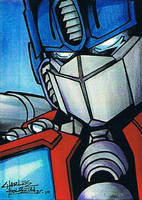 Optimus Prime sketch card by KidNotorious