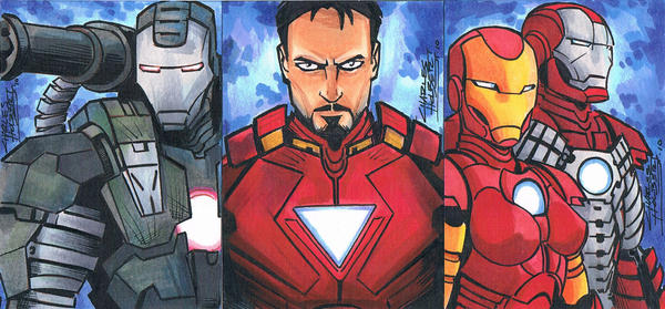 Iron Man Sketch Cards by KidNotorious