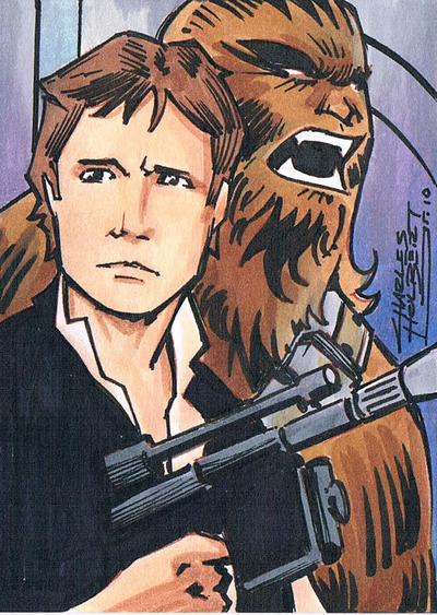 Han and Chewie sketch card by KidNotorious