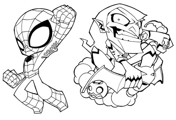 Deadpool and spider man coloring pages sketch coloring page for Baby spiderman coloring pages