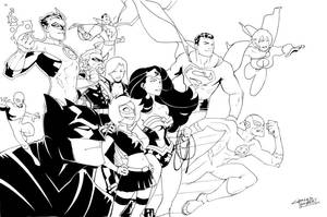 Justice League and Hawt Girl by KidNotorious