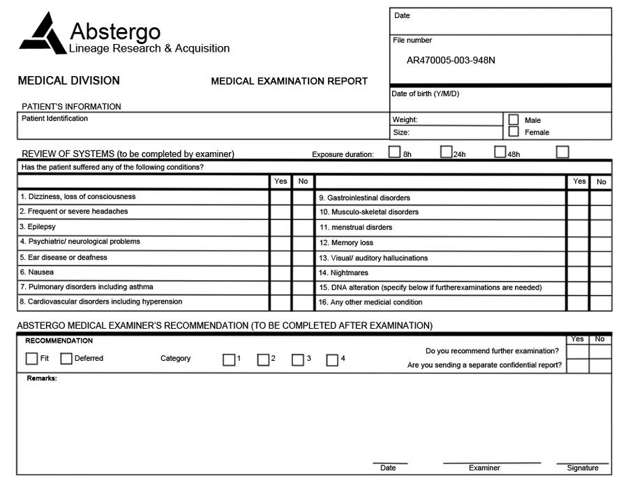 Abstergo - medical examination report by SawiTatsu on DeviantArt