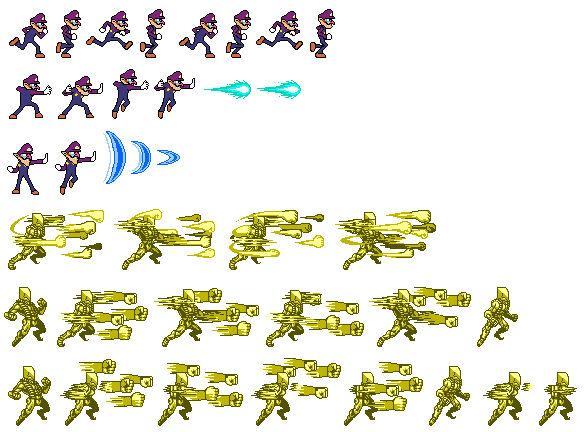 Waluigi Super Smash Bros Unused Sprites by kaithehedgefox10