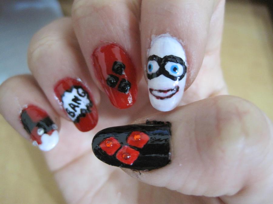 Harley Quinn Nail Art By Usagihimesama On Deviantart