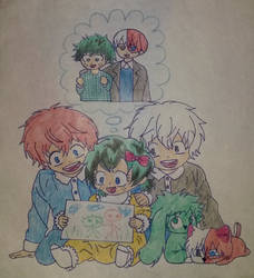 Happy family TodoDeku by papalotl25