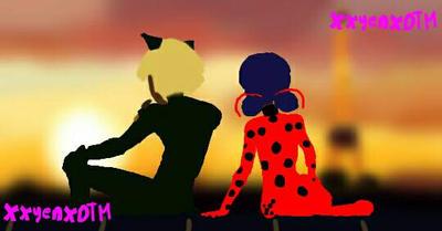 miraculous ladybug paints-cat noir and ladybug on  by xxyenxD