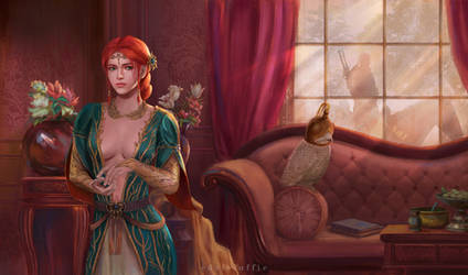 Triss in Kovir waiting for a Witcher by luffie