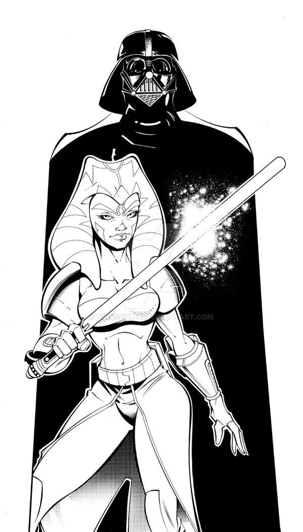 Ahsoka Tano n Vader by NickSchley