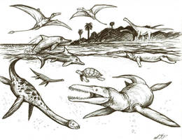 Jurassic Waters by LlamaTHEDragon