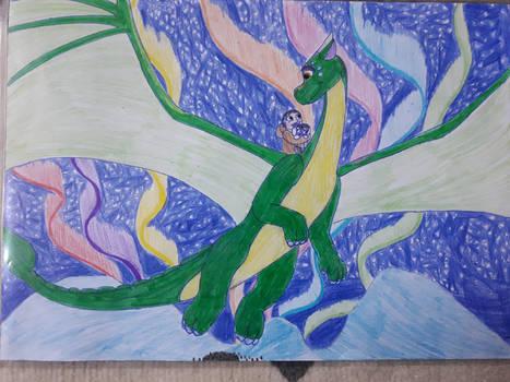 The dragon flies over the antarctica