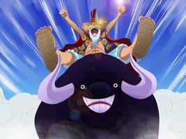 Luffy Riding a Bull by PhoenixRoy