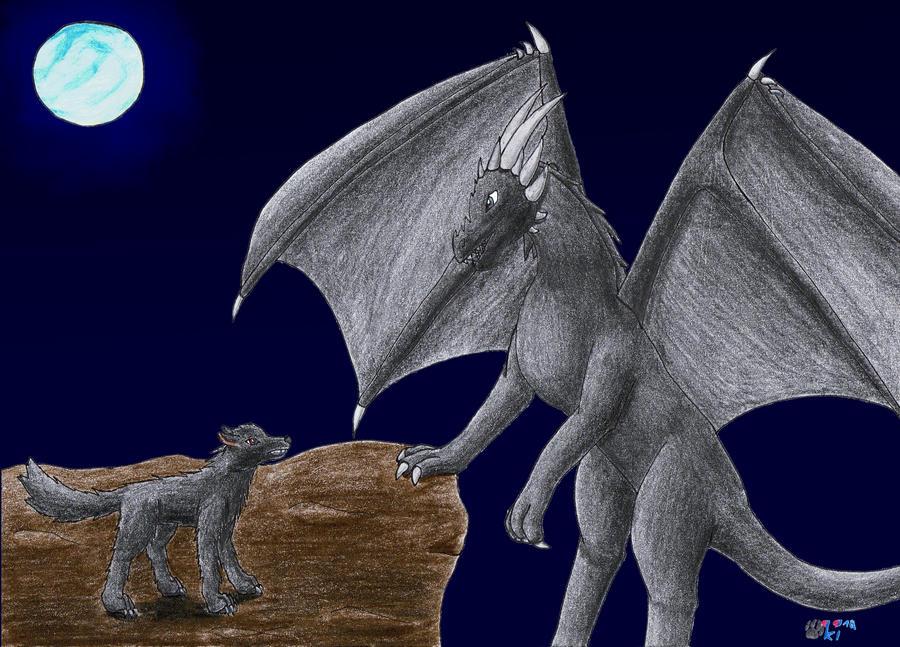 black wolf VS. black dragon by Okiro13