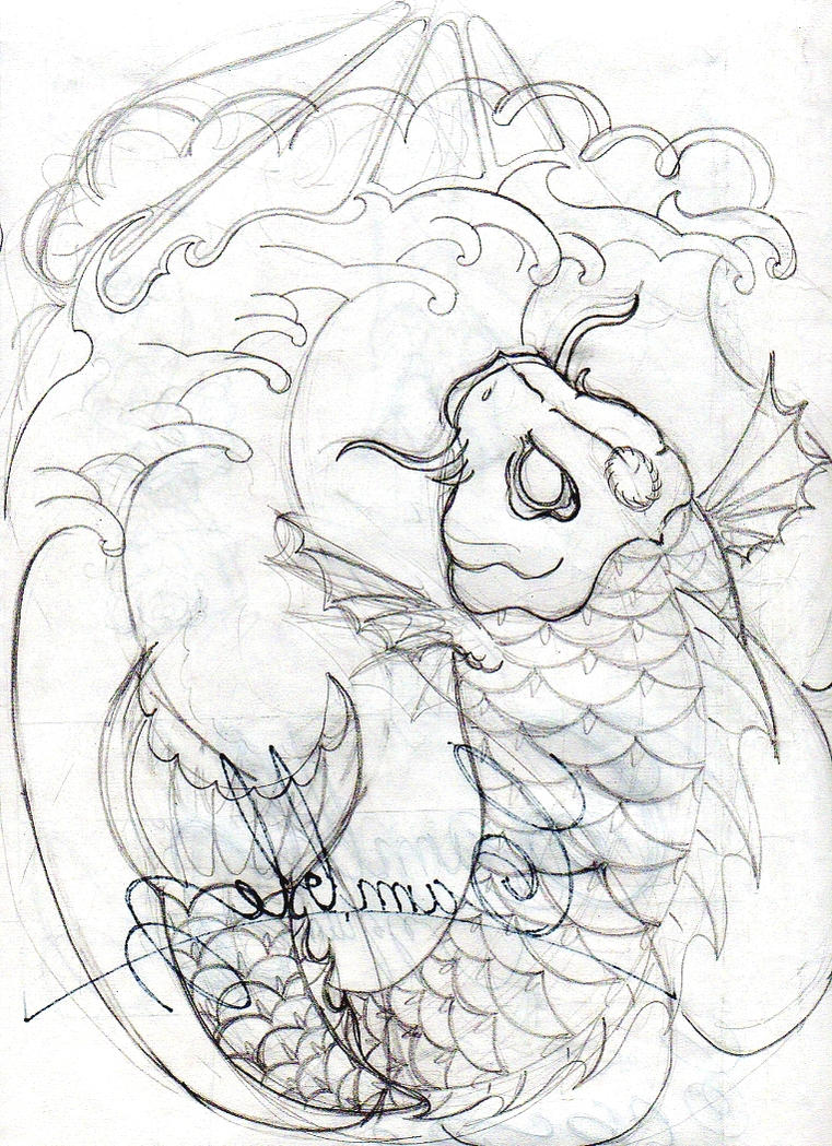 Evil koi fish sketch by dfmurcia on deviantart for Koi fish sketch