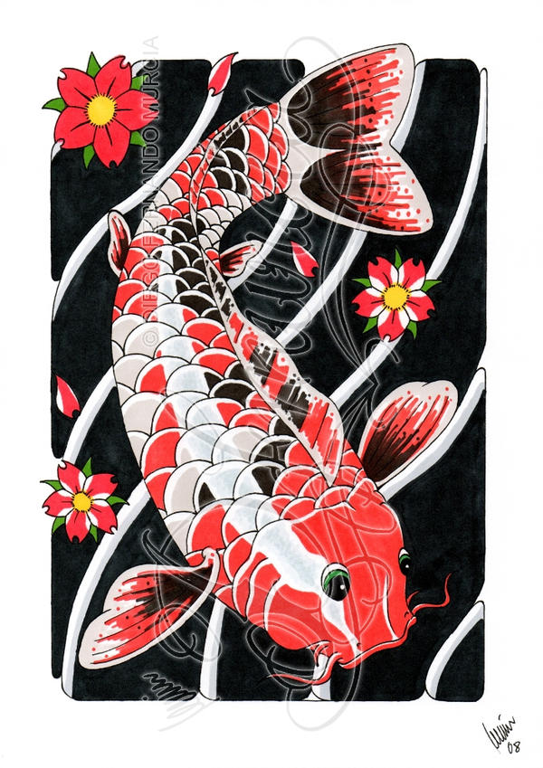 Koi and flowers 1 -coloured- - flower tattoo