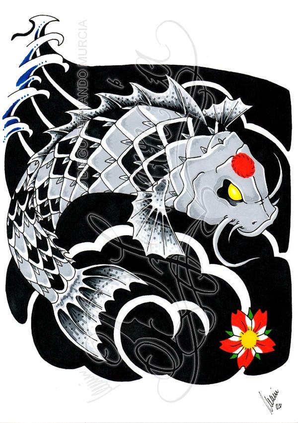 Evil koi fish tattoos designs