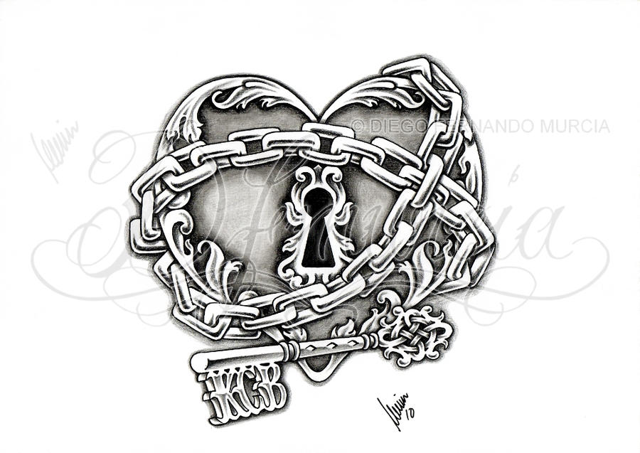 Heart locks keys tattoos