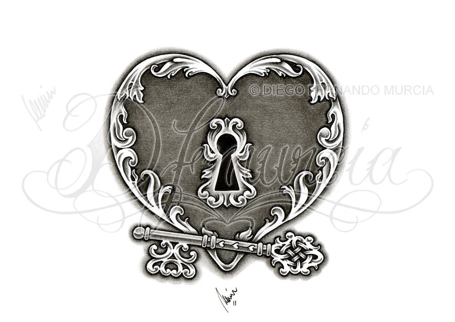 Heart lock and key 02 by dfmurcia on deviantart for Heart lock and key tattoo