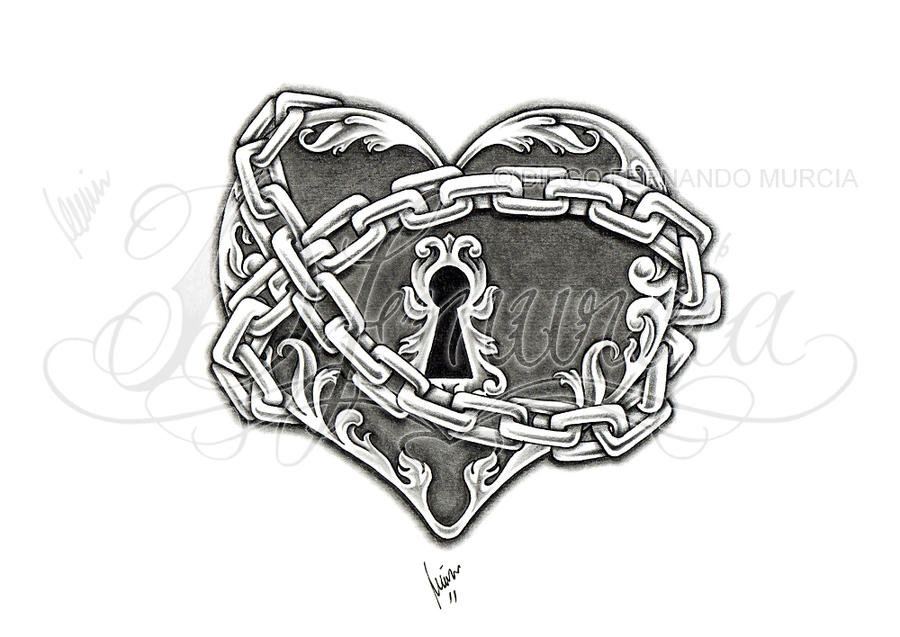 Sketch Drawings Of Hearts With Lock Coloring Pages
