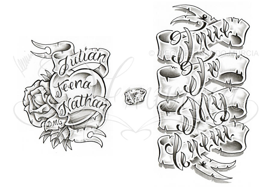 banner lettering sheet by dfmurcia - Tattoo Design Ideas
