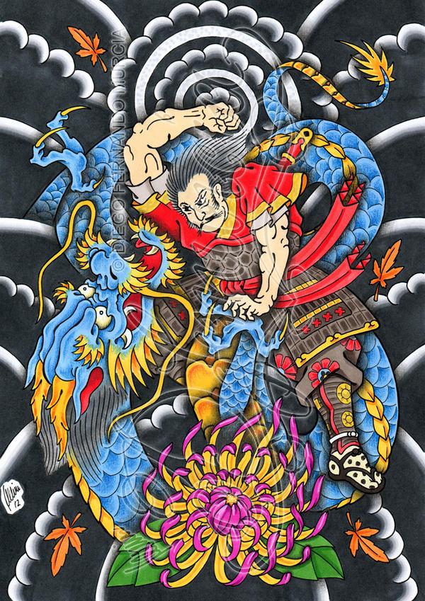 Samurai against dragon by dfmurciaDragon Samurai
