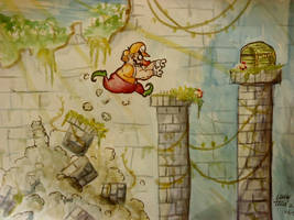 wario in temple by crillecrona