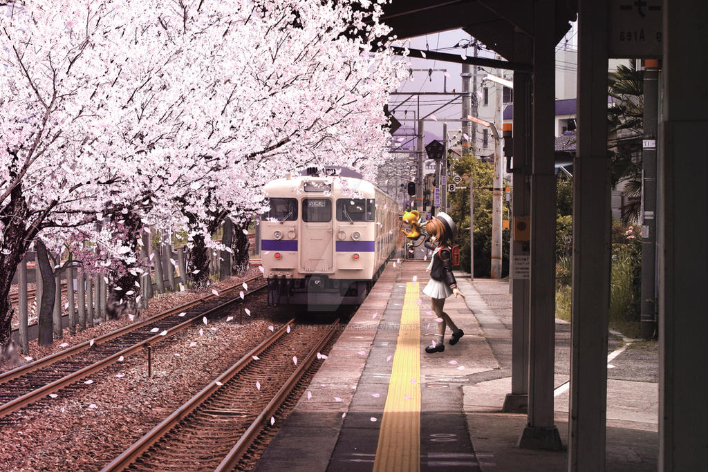 Sakura at the train station by RosequartzCustoms