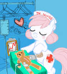 Junior Nurse Redheart (Mr. Winkles in recovery)