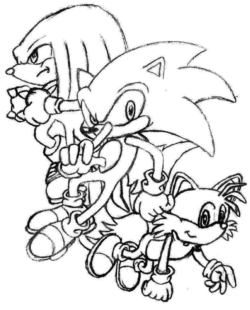knuckles coloring pages - sonic knuckles and tails by fluffynits on deviantart