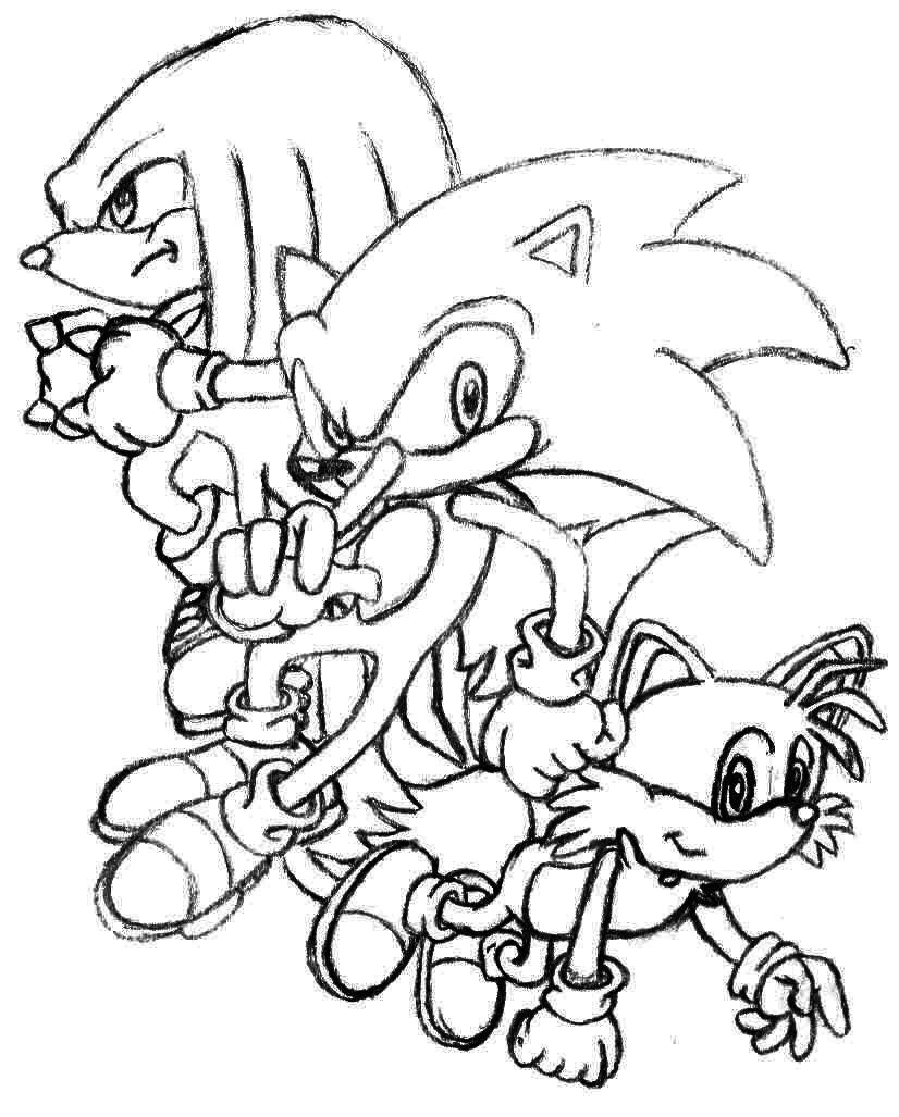 Sonic knuckles and tails coloring pages for Sonic and knuckles coloring pages