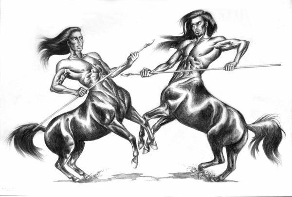 Fighting Centaurs by ZsofiaGyuker