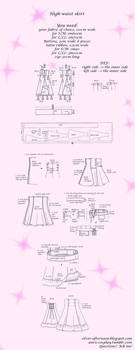 Lolita High-waist skirt tutorial and pattern