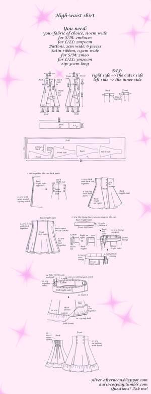 Lolita High-waist skirt tutorial and pattern