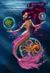 Ocean creatures and mermaid
