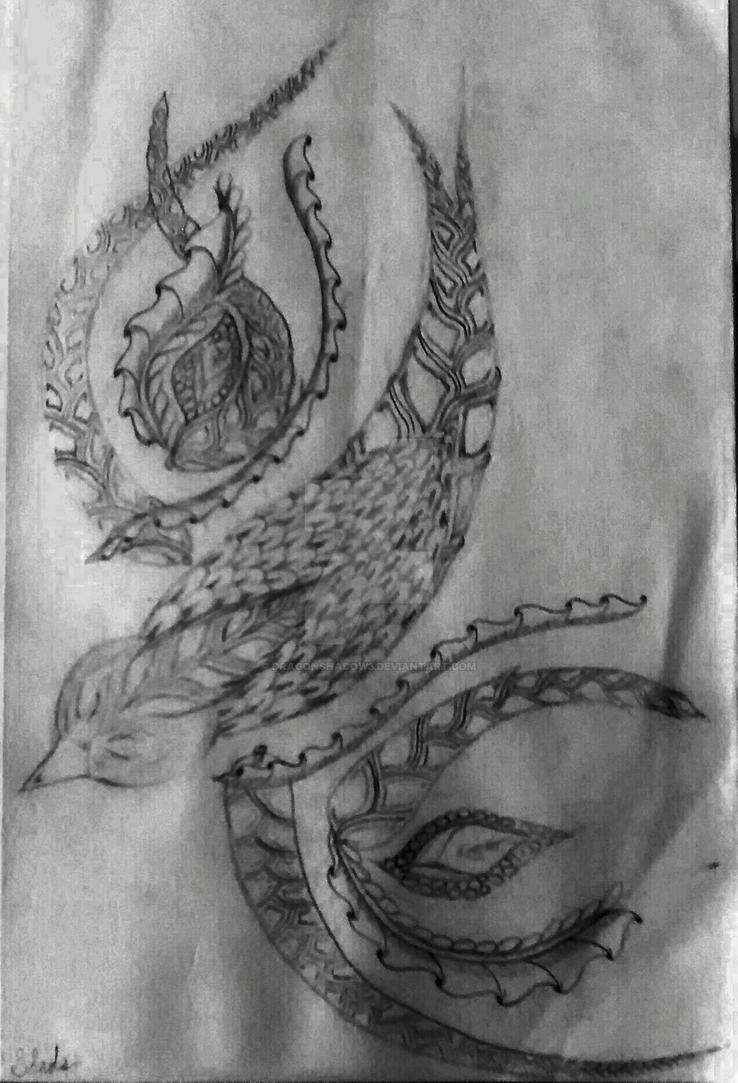 Zentangle Hummingbird by Dragonshadow3