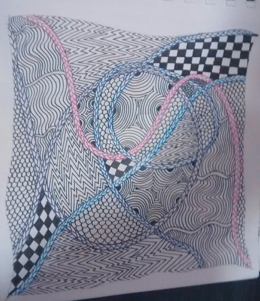 Zentangle tile #1 by Dragonshadow3