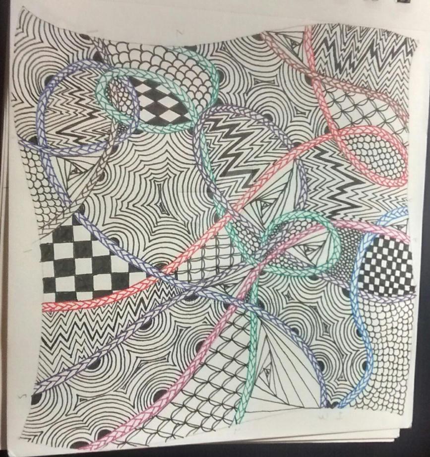 Zentangle Tile #3 by Dragonshadow3